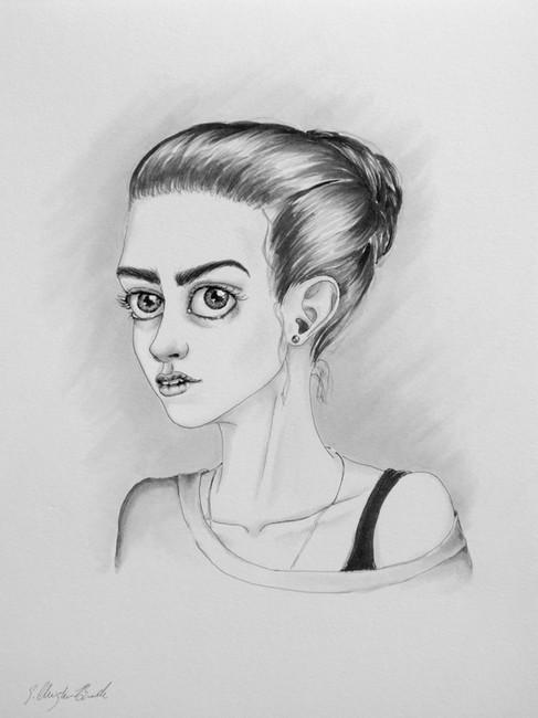 K Study.  2017. Ink on Bristol, 9x12in.