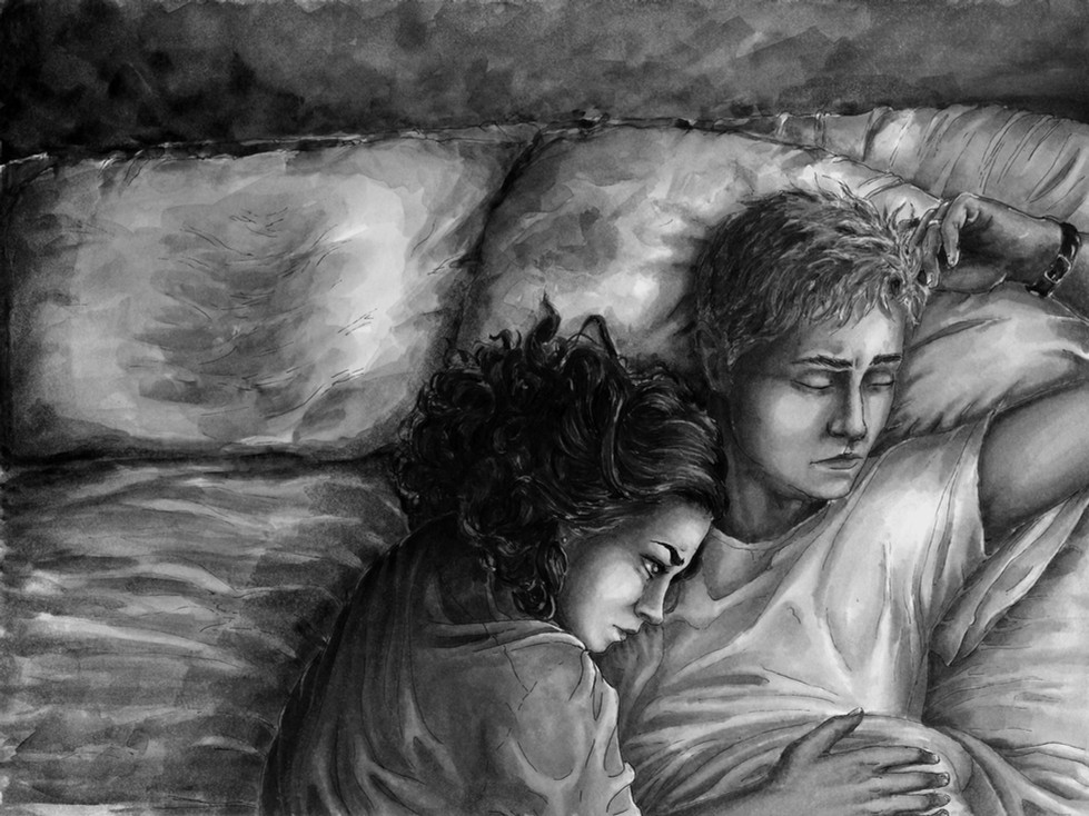 """Restless Slumber,"" Illustrative Drawing of Kyna and Gareth"