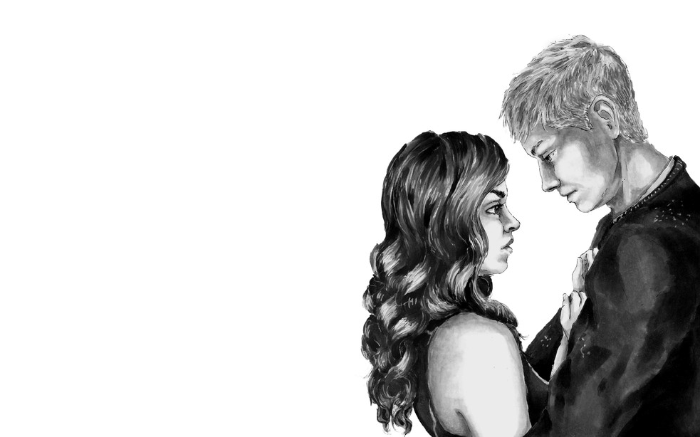 """""""One,"""" Illustrative Drawing of Kyna and Gareth"""