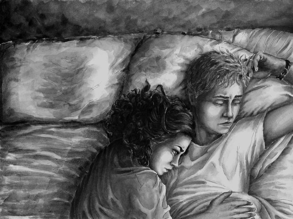 """His worries reflected my own.""  Restless Slumber. Phoenix.  2017 - . Ink, watercolor, and digital processing on Bristol."
