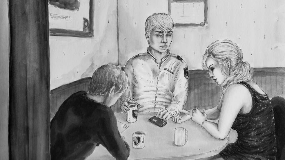 Illustrative Drawing of Brody, Megan, and Gareth