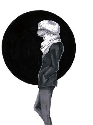Shy, Inktober. October 2017. Ink on Paper_