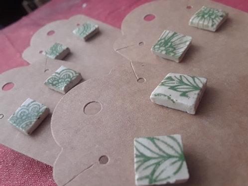 Botanical Ceramic Studded Earrings
