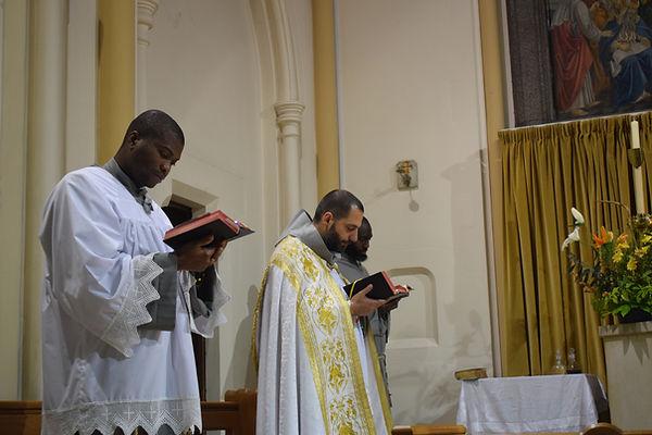 Marian Franciscans during prayer