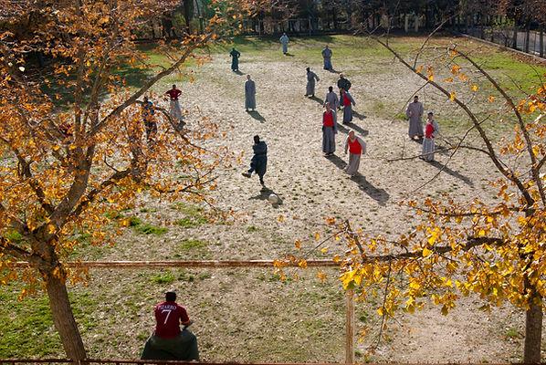 Franciscan friars playing football