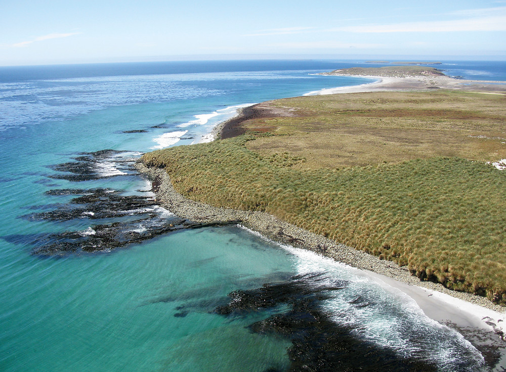 Aerial view of Sea Lion Island, Falklands