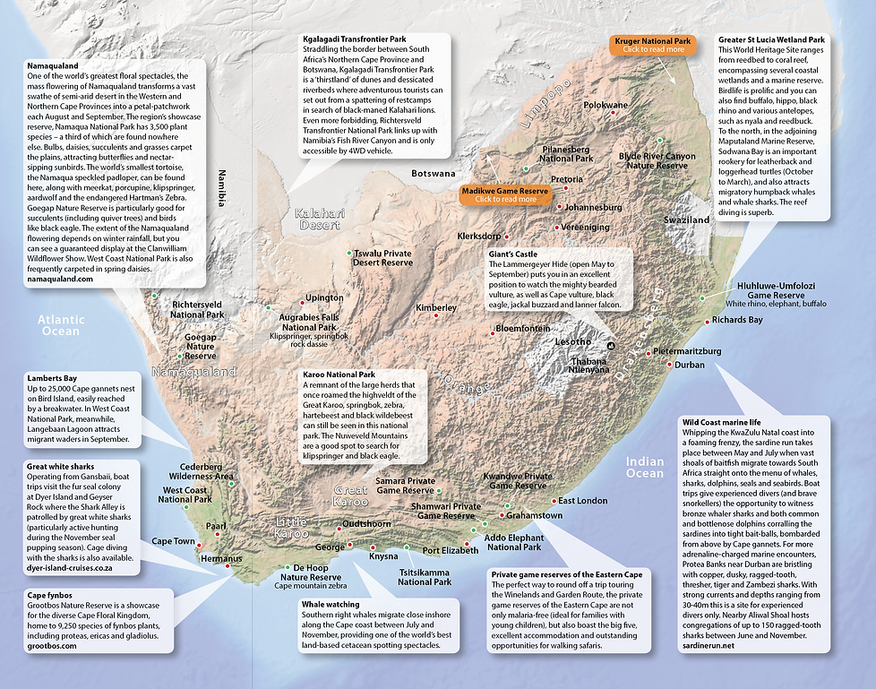 Map of wildlife destinations in South Africa