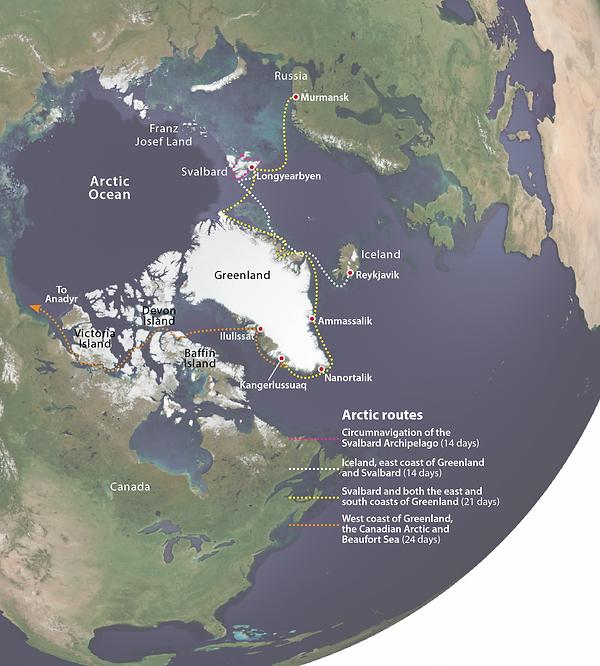Map of wildlife cruises in the Arctic