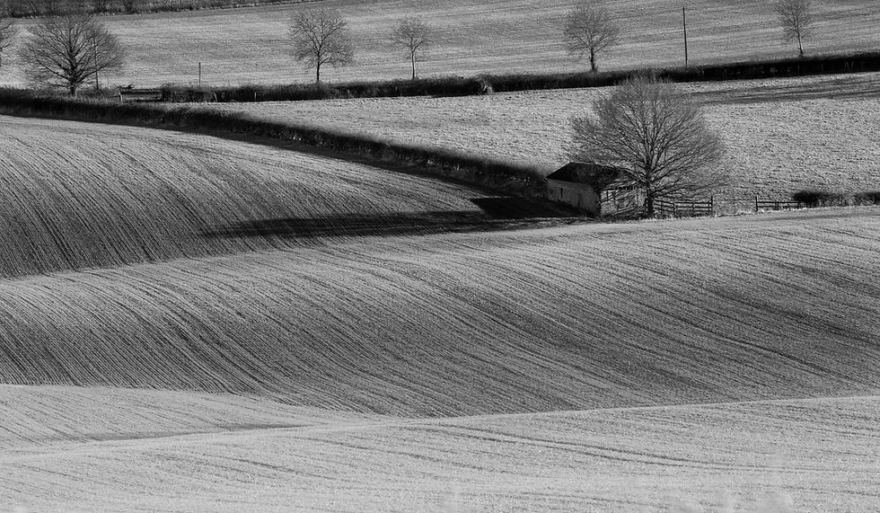 Black and white image of a ploughed field and barn in the Cotswolds taken on a workshop with Will Gray Photography