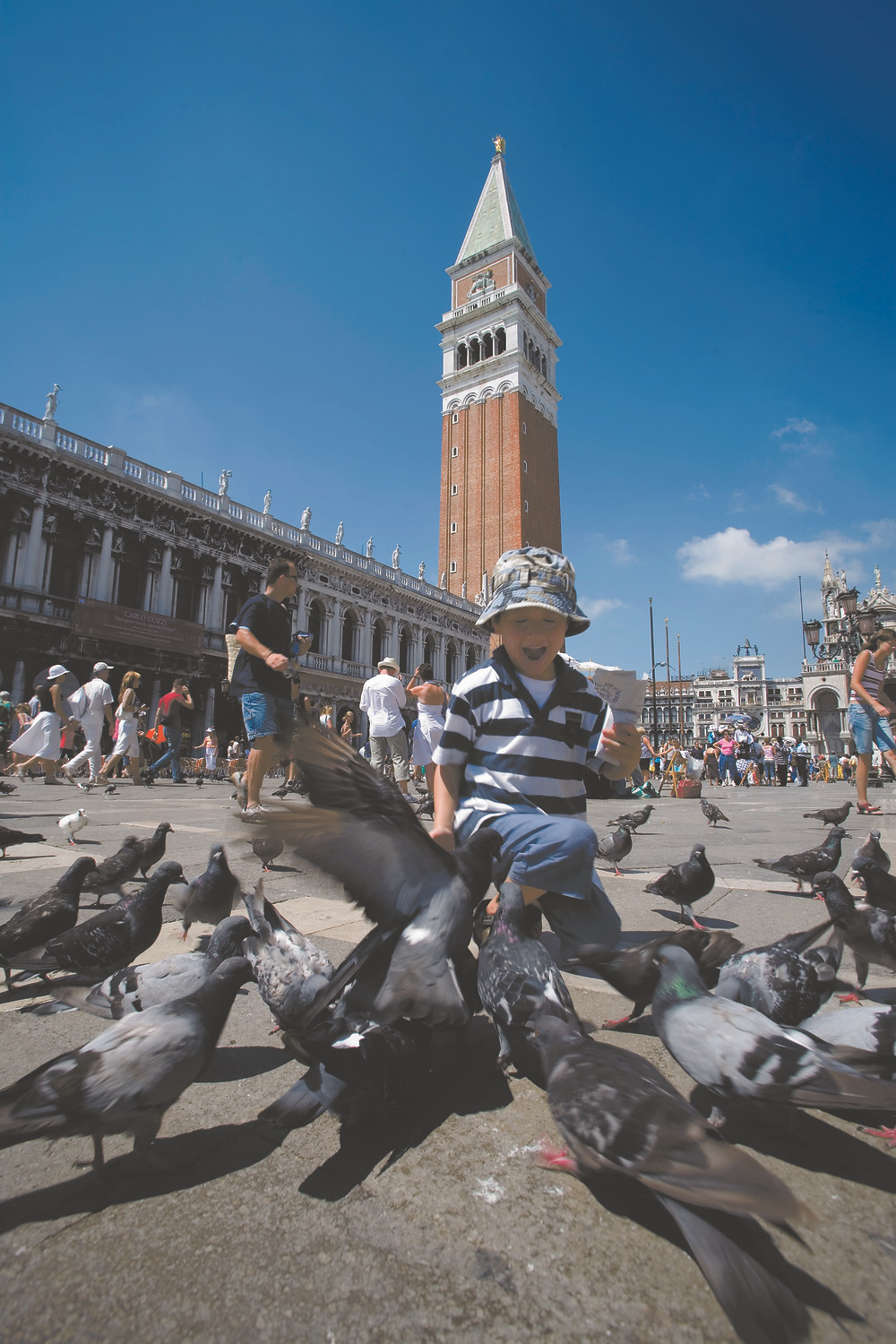 Small boy on holiday in St Mark's Square, Venice