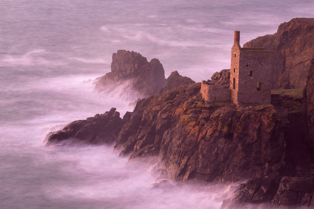 Long exposure of Botallack tin mine ruins on North Cornwall coast