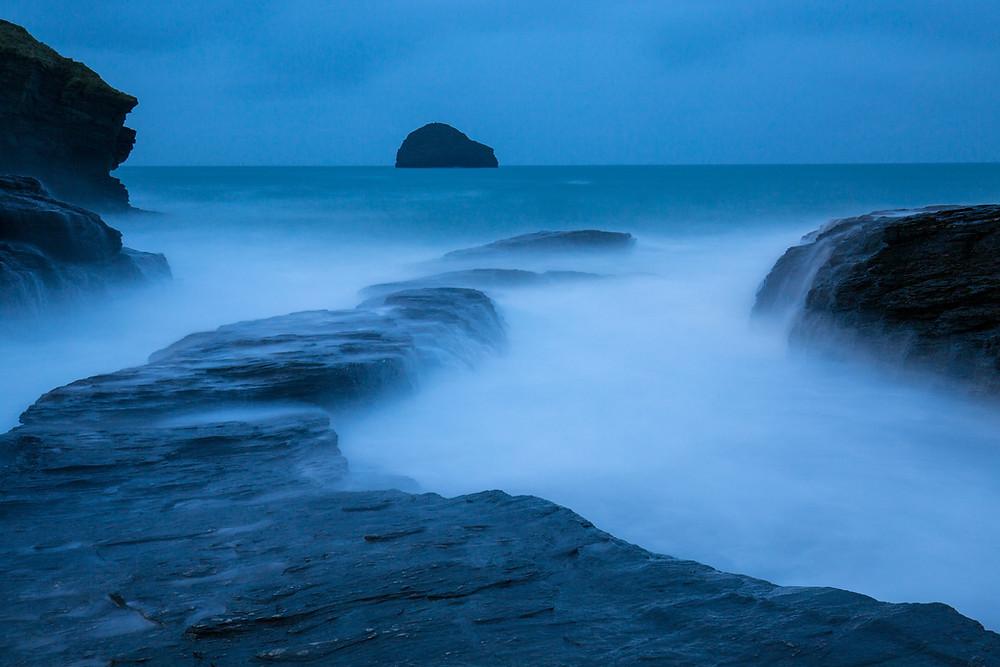 Trebarwith, Cornwall, long exposure