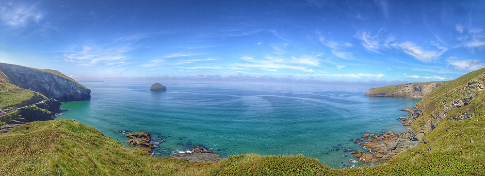 Trebarwith viewed from the clifftops, North Cornwall coast