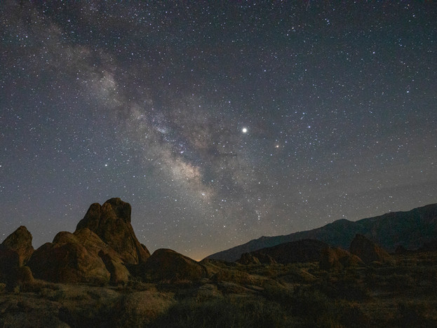 Jupiter and the Milky Way over the Alabama Hills