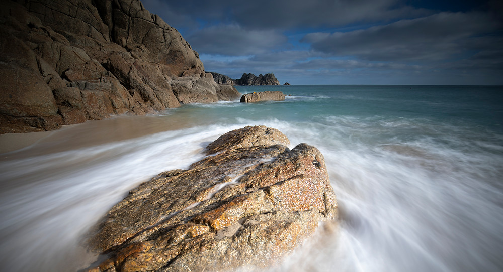 Porthcurno, Cornwall, long exposure photograph