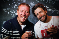 Characters enjoying a pint