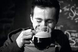 Character enjoying a pint