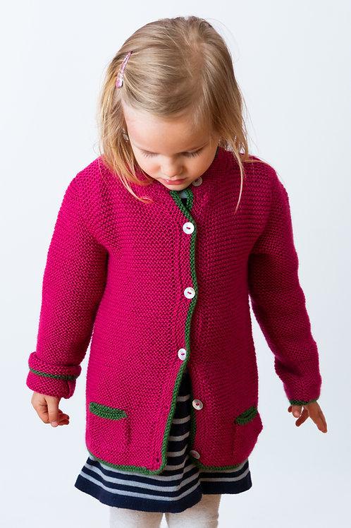 Pinker Janker | Kinderkleidung von Alpakita | Handarbeit | Strickjacke für Teenager