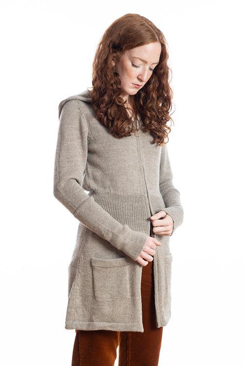 Elegante Strickjacke für Frauen mit Kapuze aus feiner Alpakawolle