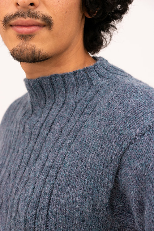 Alpaka Pullover Herren | Strickmode aus Alpaka | Handgestrickter Alpakapullover mit Zopfmuster für Herren