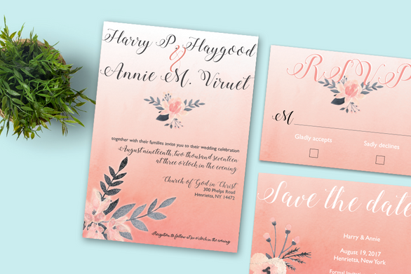 3 piece wedding invite