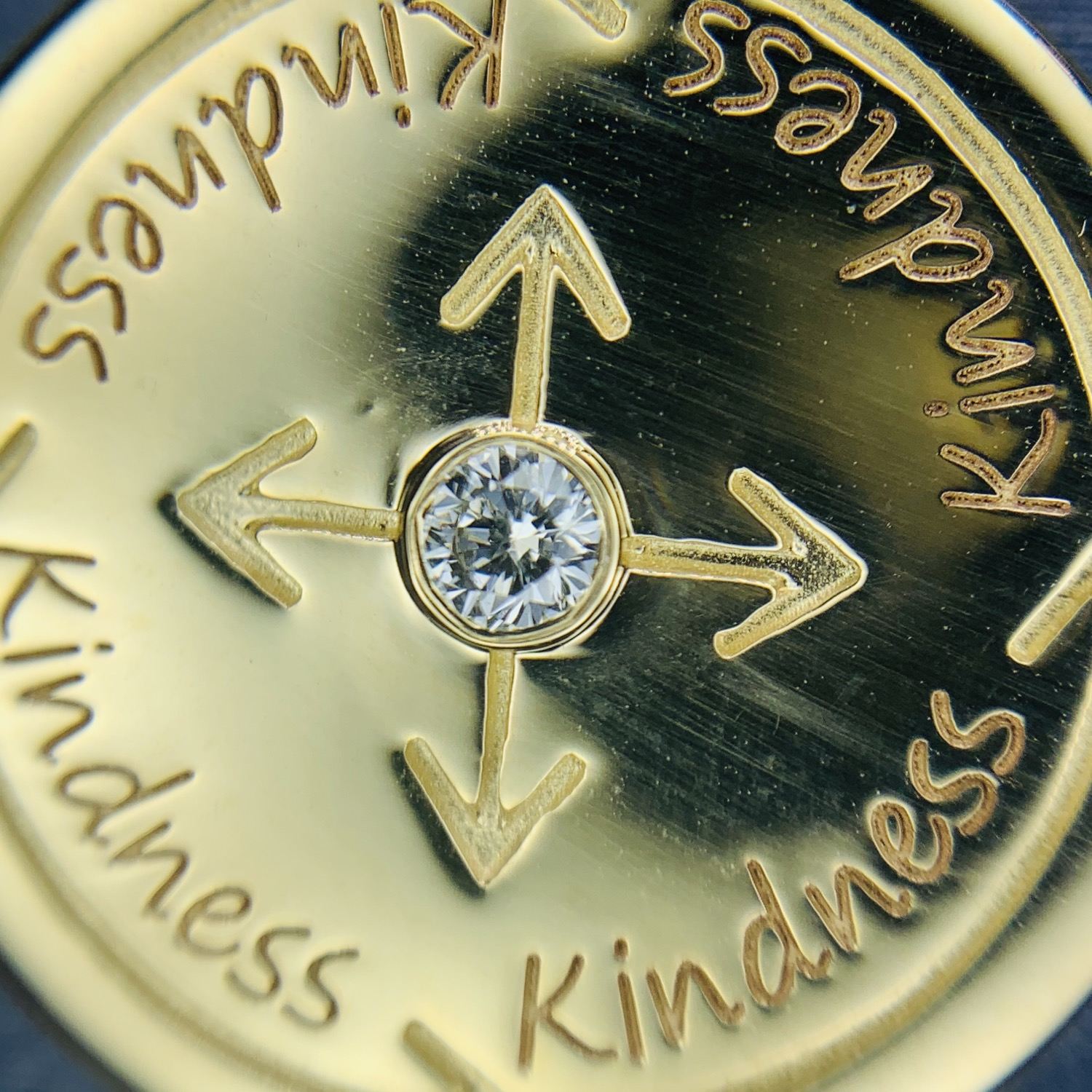 Thumbnail: 14k gold with diamond kindness coin necklace