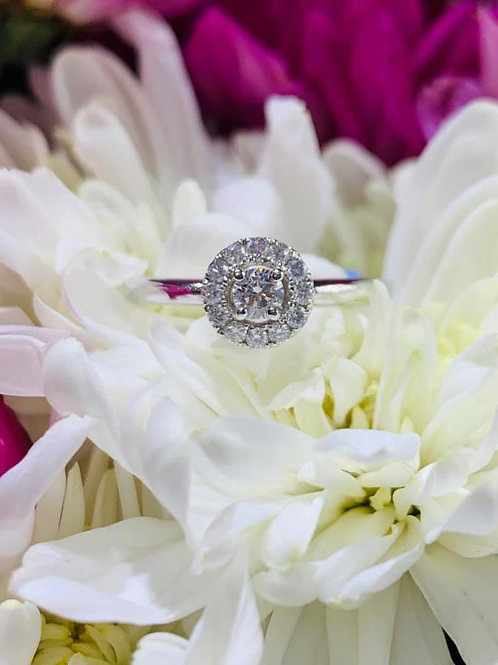 petite diamond halo engagement ring