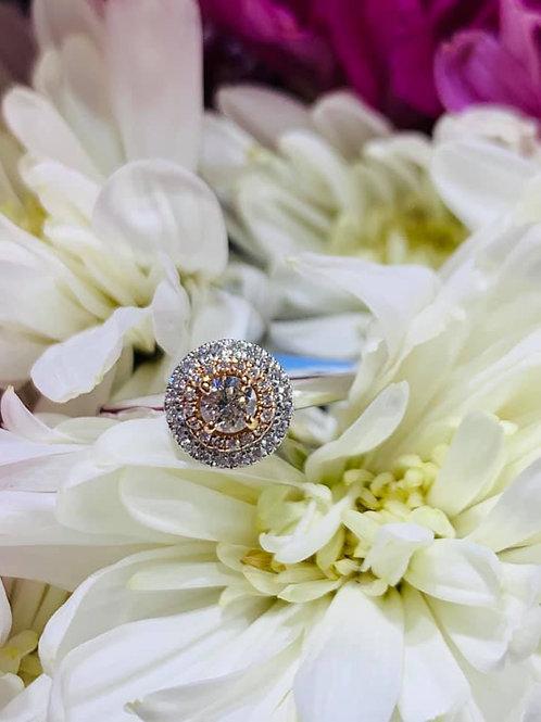 petite halo diamond engagement ring