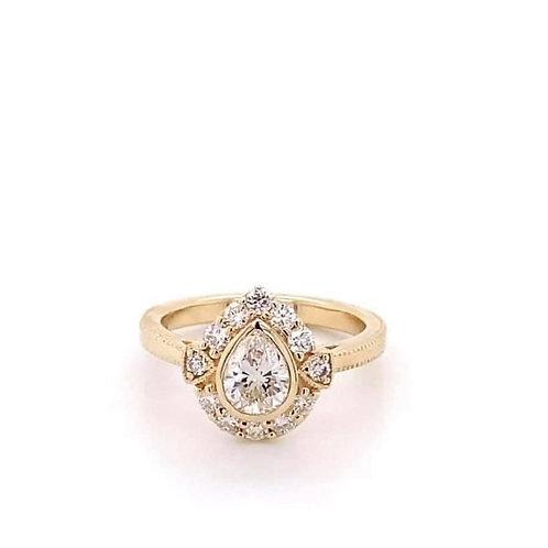 custom designed pear shaped diamond engagement ring