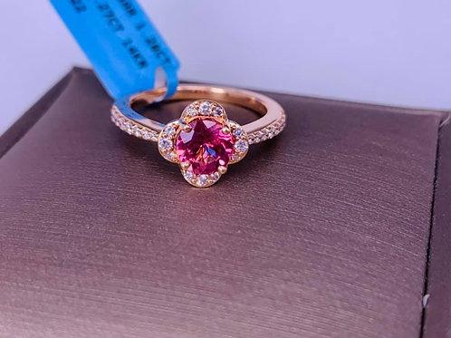 Lotus Garnet and Diamond Flower Ring