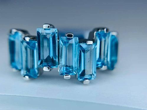 zigzag blue topaz ring