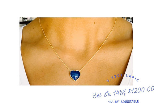genuine lapis 14k gold necklace
