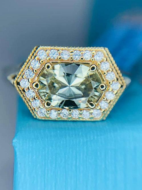 Genuine 1 carat oval Zultanite with .30 carats of genuine diamonds