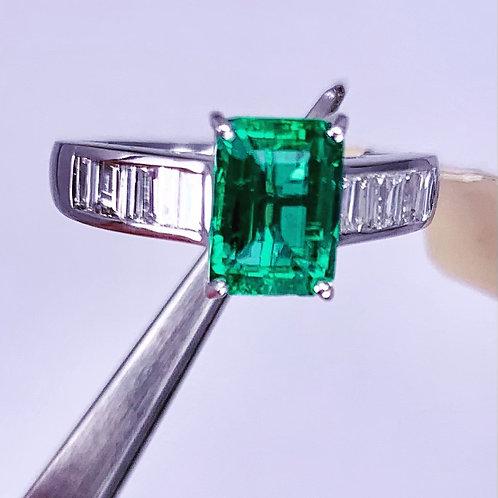 emerald cut emerald and diamond ring