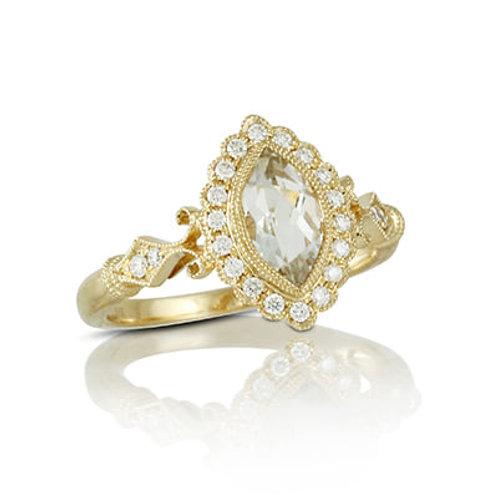 marquis white topaz and diamond ring
