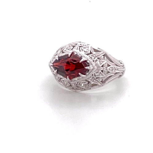 wicked custom designed garnet & diamond ring