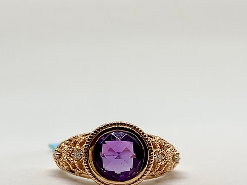 Antique Style Amethyst and Diamond Ring