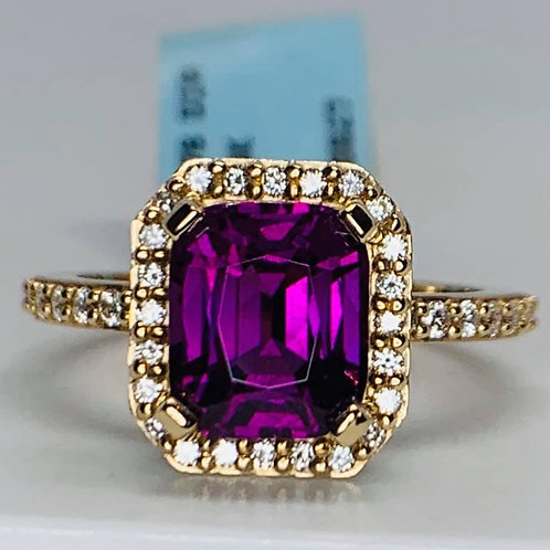 Emerald Cut Purple Garnet & Diamond ring
