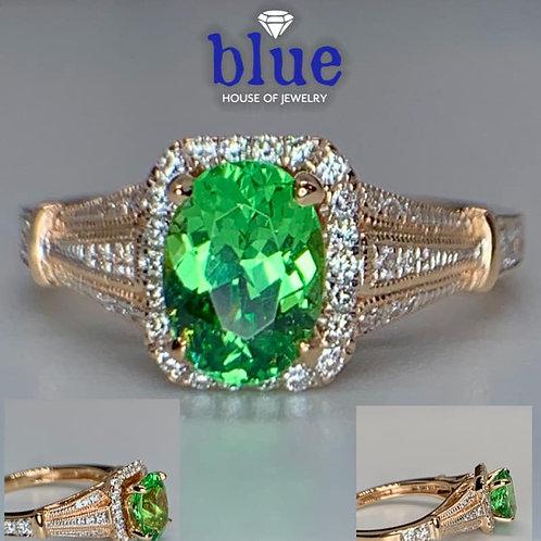 neon mint garnet and diamond ring