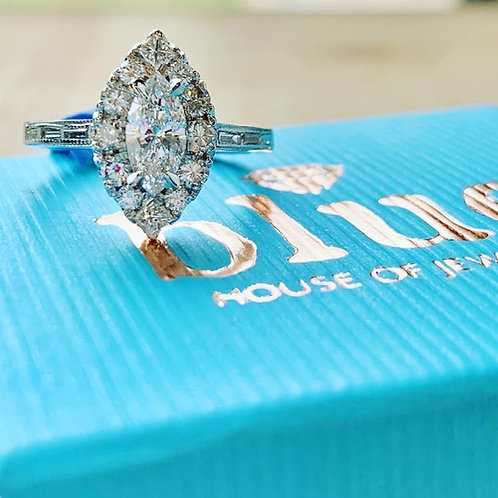 custom designed by Tina Yancey marquis engagement ring