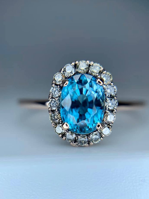 cambodian blue zircon and champagne diamond ring