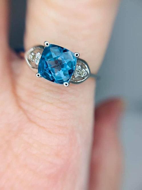 petite blue topaz ring