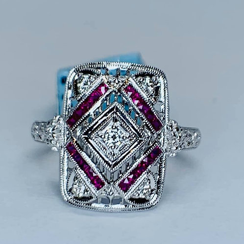 vintage style new ruby and diamond ring