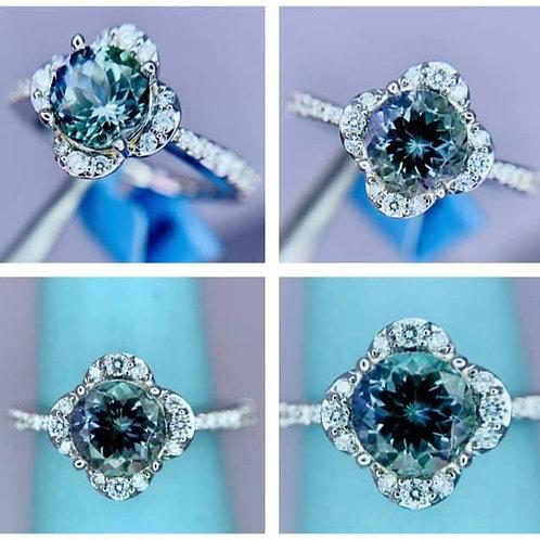 Peacock Tanzanite and Diamond Ring