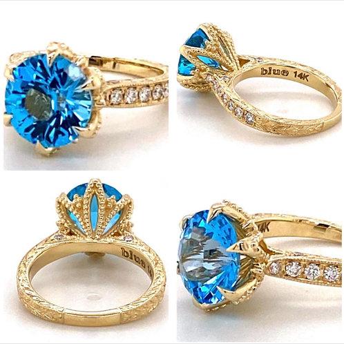 custom designed blue topaz ring
