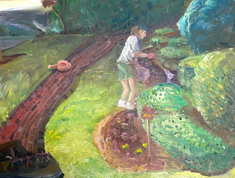 Joanne Bennett watering garden by jbene 2002