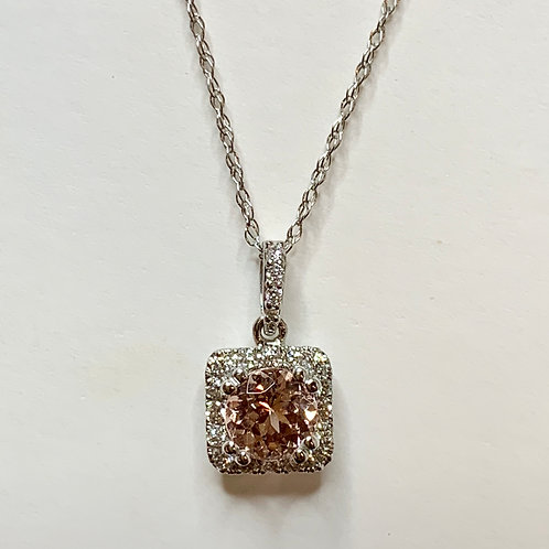 Lotus Garnet and Diamond Necklace