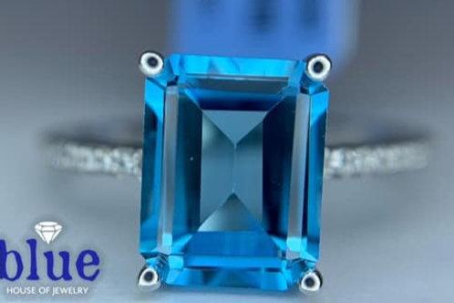 emerald cut blue topaz and diamond 10k white gold ring