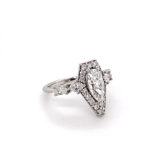 custom designed pear shaped diamond ring