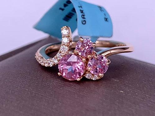 Rare Lotus Garnet and Diamond Ring